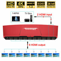 4K@30Hz 2x8 HDMI Splitter Amplifier Repeater 2 in 8 out 3D IR Remote  HDCP 1.4