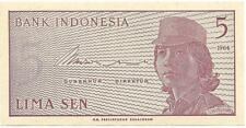 INDONESIA 5 Sen P - 91; UNC from 1964; 50+years old ~ FREE SHIPPING Canada / USA