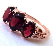 R203 Genuine 9ct Rose Gold Natural Rhodolite Garnet 3-stone Trilogy Ring yr size