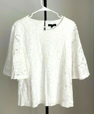 BANANA REPUBLIC White Lace Crew Neck 3/4 Bell Sleeve Lined Top size M - NWT