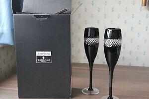 "2 Waterford Crystal John Rocha ""Black Cut"" Champagne Flutes + Box + Tissue 25cm"