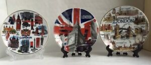 3 X London Ceramic Decoration Showpiece Display Plates With Stand Souvenir Gift