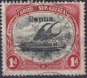 PAPUA 1907 Lakatoi 1d black & red small Papua ovpt wmk vert VFU cv £5   1635