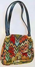Vintage Velvet Chenille Carpet Bag Floral Tapestry Large Size Handbag