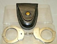Vintage 1950s - 60s Era Marked Police Handcuffs W/ Leather Bauer Bros Holster
