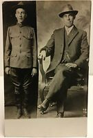 RPPC Studio Real Photo Postcard Dyptych Same Man as WW I Soldier & Older In Suit