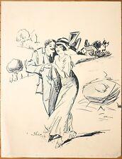 Dessin original de NICO GESLIN daté 1913 humour séduction drague