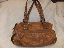"B.Makowsky Tan Faux Croc Textured Leather Satchel Handbag, 14"" x 9"""