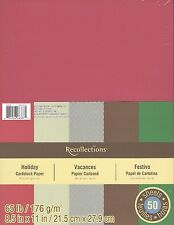 "New Recollections 8.5x11"" Cardstock Paper Holiday Christmas Red, Green 50 Sheets"