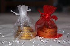 10x rojo y Blanco Bolsas de Organza decoración MESA BODA 7cm x 9cm Vendedor GB