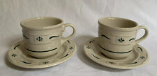 Longaberger Pottery Heritage Green Cup & Saucer Set Of 2 (4 Pieces) Made in Usa