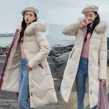 Womens Ladies Long Winter Coat Padded Quilted Puffer Jacket Fur Hooded Plus Size