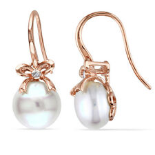 10k Rose Pink Gold Cultured Freshwater Pearl and Diamond Earrings G-H I1-I2