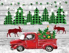 Xmas Red Truck Cedar Trees Rustic Wood 7x5ft Backdrop Vinyl Photo Background LB