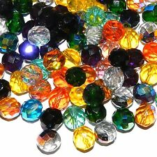 CZL51 Assorted Color Fire-Polished Faceted 10mm Round Czech Glass Beads 50pc
