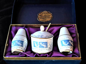 Beautiful COALPORT Fine China Cruet Set, 'REVELRY' Original Box, Vintage