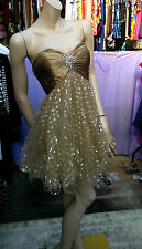 Gorgeous Sherri Hill  Strapless Dress Sequins In Golden-Bronze Size US 4 UK 8