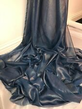 """3 MTR QUALITY TEAL/GOLD SHIMMER CHIFFON FABRIC...58"""" WIDE"""