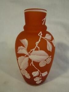 """LOVELY VICTORIAN 6"""" SATIN ART GLASS VASE - ENAMELED BERRIES & LEAVES"""