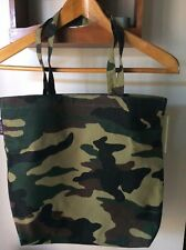 NEW J CREW CANVAS TOTE BAG IN CAMO GREEN NWT - Good Size Bag - Sturdy
