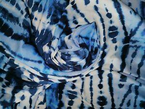 Rippenstrick Baumwolle Stoff Strickstoff 1,65 x 1,15  Mtr blau weiß Batik