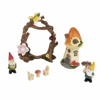 Juvale 7pcs Fairy Garden Miniature Accessories Set - Gnome & Mushroom Figurines