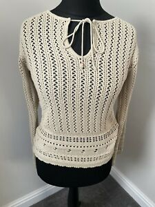 VINTAGE Y2k 90s 00s NEW LOOK CROCHET CREAM FLARED LACE UP JUMPER SIZE 8-10