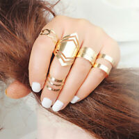 5pcs/Set Women Gold Boho Stack Plain Above Knuckle Ring Midi Finger Rings