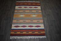 Tribal 100% Wool 4' x 6' Kilim Rug