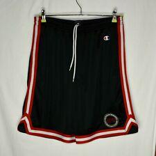 Vintage Men's Champion McGovern Basketball Shorts Size XL Black Red Striped Mesh