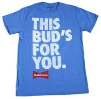 Budweiser This Bud's For You Vintage Classic T-Shirt Logo Tee Blue Men's New