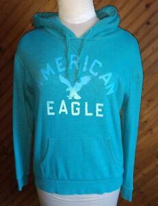 American Eagle Junior's Size M Hoodie Sweatshirt Green Pocket Logo Front Comfy