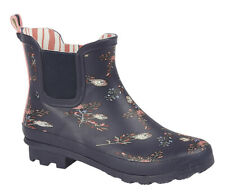 Ladies Floral Print Ankle Wellies Short Slip On Wellington Boots Sizes 3 to 9