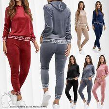 Damen Nicki Trainingsanzug Soft Velours Set Stretch Hose Hoodie Sportanzug Cozy