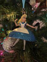 Disney Parks Alice In Wonderland Glitter Dress Ornament Hand Painted