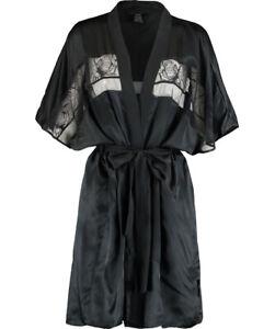CALVIN KLEIN BLACK SLEEPWEAR Black Tenues de Nuit Silk Satin and Lace Robe BNWT