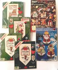Lot 6 Christmas Plastic Canvas Janlynn Cross Stitch Ornament Dimensions Banner