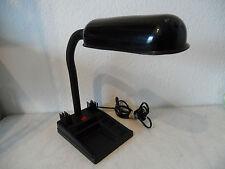 Sehr dekorative Vintage Schreibtischlampe schwarz mit Utensilo Leuchte (B24)xx