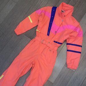 Vtg 80s OBERMEYER One Piece Ski Suit GORE TEX Snow Bib Snowsuit Orange Womens 8