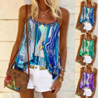 Womens Summer Strappy Vest Tops Ladies Boho Beach Casual Blouse Tank Shirt  New