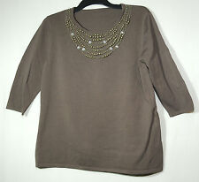 BROWN CASUAL FORMAL TOP BLOUSE SIZE 16 STRETCHY BUST 40""