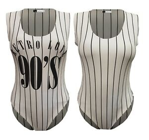 Womens Plus Size Racer Leotard Monochrome Retro 90s Love Pinstripe Bodysuit Top