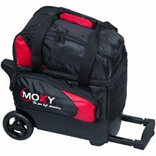 Single Ball Roller Bowling Bag w/ Locking Retractable Square Handle - Red/Black