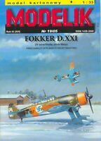 ORIGINAL PAPER-CARD MODEL KIT - Fokker D.XXI