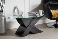"MILANO Designer Oval ""X""  Black High Gloss & Glass Coffee Table Modern Furniture"