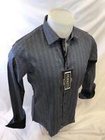 Mens FERRETI By BARABAS Designer Dress Shirt Woven BLACK GEOMETRIC SLIM FIT 4314