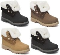 LADIES WOMENS WINTER ANKLE ARMY COMBAT FUR LINED GRIP SOLE SNOW SHOES BOOTS SZ