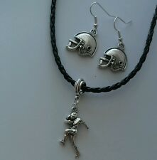 Black Leather Necklace Football Player Helmet Dangle Earrings Fashion Jewelry