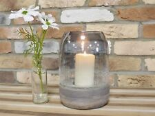 Solid Wood and Cracked Effect Glass Hurricane Candle Holder - In Two Sizes