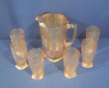 Vtg Jeanette Louisa Iridescent Carnival Glass Depression Pitcher + 6 Tumbler Set